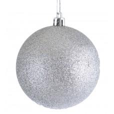 Шар d-8 см серебряный глитер