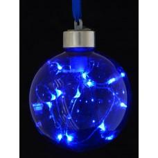 Шар d-8 см, синий, с LED-нитью, 12 лампочек, синие, серебрян. провод.