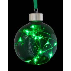 Шар d-8 см, зелёный, с LED-нитью, 12 лампочек, зелёные, серебрян. провод.
