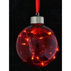 Шар d-8 см, красный, с LED-нитью, 12 лампочек, красные, серебрян. провод.