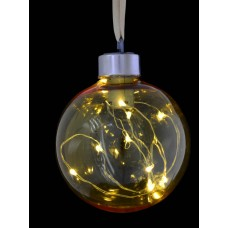 Шар d-8 см, желтый, с LED-нитью, 12 лампочек, жёлтые, серебрян. провод.