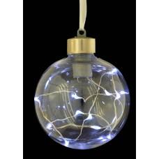Шар d-8 см, прозрачный, с LED-нитью, 12 лампочек, холод.белые, серебрян. провод.