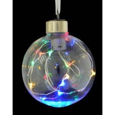 Шар d-8 см, прозрачный, с LED-нитью, 12 лампочек, многоцветные, серебрян. провод.