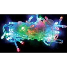 Электрогирлянда светодиодная, 100 ламп, многоцветная, 5м., прозр. провод, 8 реж. мигания