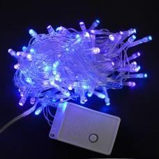 Электрогирлянда светодиодная, 100 ламп, голубая, 5 м., 8 реж.мигания, прозр.провод.