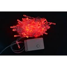 Электрогирлянда светодиодная, 100 ламп, красная, 5 м., 8 реж.мигания, прозр.провод.