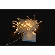 Электрогирлянда светодиодная, 100 ламп, молочно-белая, 5 м., 8 реж.мигания, прозр.провод.