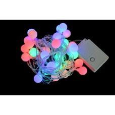 """Электрогирлянда свет. """"Шарики матовые"""", 30 ламп, многоц, 2,3 м., 8 реж.мигания, прозр.пров"""