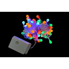 "Электрогирлянда свет ""Шарики"", 48 ламп, многоц., 2,4 м., 8 реж.мигания, прозр, провод"