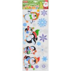 Наклейки новогодние, объемные (50*20 см) (Пингвины)