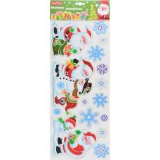 Наклейки новогодние, объемные (50*20 см) (Дед Мороз)