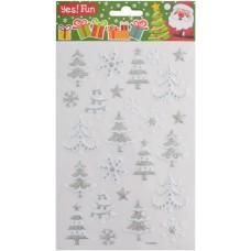 Наклейки новогодние, объемные/глиттер (25*15 см)