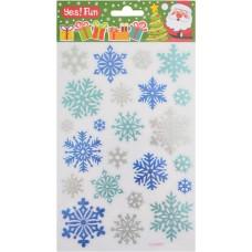 Наклейки новогодние, объемные/фольга (25*15 см) (цветные)