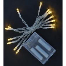 Электрогирлянда, 15 LED лампочек, молочно-белая,  1,6 м., 1 реж.мигания, прозр.провод.