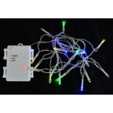 Электрогирлянда уличная, 20 LED лампочек, многоцветная,  2,10 м., 1 реж.мигания, прозр.